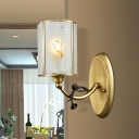 Cylindrical Frosted Glass Panes Sconce Retro Single-Bulb Dining Room Wall Mount Lamp in Brass