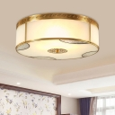 Round Frosted Glass Ceiling Light Traditional 4-Light 14