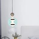 Blue Thin Panel Pendulum Light Modernist LED Acrylic Hanging Pendant Lamp for Bedroom