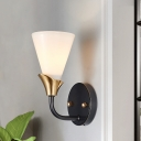 Cone Up Bedroom Wall Sconce Lighting Traditional White Glass 1/2 Heads Brass Wall Mount Lamp