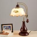 1 Light Flower Night Lighting Vintage Style Red Brown White Print Glass Night Table Lamp