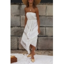 Amazing Sexy White Sleeveless Strapless Tied Waist Sheer Lace Mesh Panel Asymmetric Hem Long A-Line Tube Beach Dress