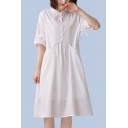 Vintage Pretty Ladies Bow Tie Sleeve Stand Collar Button Up Patchwork Linen Plain Mid Pleated Swing Dress