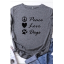 Leisure Womens Rolled Short Sleeve Round Neck Letter PEACE LOVE DOGS Heart Footprint Graphic Slim Fit T-Shirt