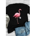 Popular Stylish Girls Roll Up Sleeve Crew Neck Flamingo Printed Relaxed Fit T-Shirt
