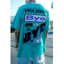 Holiday Bye Coconut Tree Graphic Short Sleeve Crew Neck Label Panel Oversize Fashion Tee Top for Guys