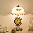 1-Bulb Nightstand Light Farmhouse Flower Printing White Glass Night Lamp in Brass with Clock