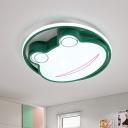 Acrylic Frog Shape Ceiling Flush Cartoon LED Green Flushmount Lighting in Warm/White Light