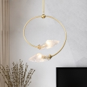 Minimalist Swirled Drop Lamp Clear Textured Glass 2-Head Dining Room Chandelier Light Fixture in Gold