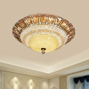 LED Bowl Flush Mount Light Minimalist Gold Cognac and Clear Crystal Ceiling Mounted Fixture