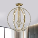 Traditional Candle Semi Flush Mount 3-Head Crystal Flushmount Lighting in Gold with Globe Cage