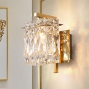 1/2-Light Rectangle Wall Sconce Modernist Chrome/Gold Crystal Block Wall Lighting Fixture