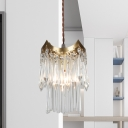 1 Bulb Pendulum Light Retro Style 2-Tier Beveled K9 Crystal Rod Hanging Lamp in Brass