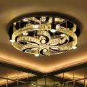 Spiral Flower Crystal Ceiling Lamp Simplicity LED Living Room Semi Flush Mount in Chrome