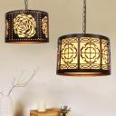 1 Bulb Drum Ceiling Pendant Light Industrial Bronze Finish Metal Pendulum Lamp with Rose/Square Pattern