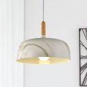 Single Aluminum Pendant Light Kit Nordic White/Wood/Green Wide Bowl Sitting Room Hanging Lamp