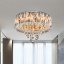 Circular Fabric Ceiling Light Modernism 5-Bulb Living Room Flush Mount in White with Crystal Drop