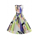 Womens Allover Geometric Leaf Printed Sleeveless Round Neck Boutique Midi Pleated Swing Dress with Tie