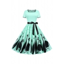 Ladies Cat Snow Printed Bow Tie Waist Short Sleeve Square Neck Contrasted Audrey Hepburn Midi Pleated Flared Dress
