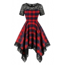 Audrey Hepburn Style Plaid Printed Sheer Lace Patched Short Sleeve Round Neck Asymmetric Hem Midi Pleated Flared Dress in Red