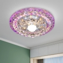 Purple Flower Flush Mount Lamp Modern Crystal LED Foyer Ceiling Light in Warm/White Light