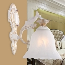 Scalloped Flared Bedroom Wall Sconce French Country Milk Glass 1/2-Bulb White Wall Mount Light Fixture
