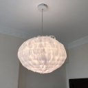 Contemporary Feather Globe Hinging Light Fabric 1 Light Bedroom Ceiling Suspension Lamp in White