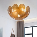 Metal Lotus Leaf Semi Flush Mount Lighting Postmodern 5 Lights Flush Ceiling Lamp Fixture