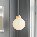 Simple 1 Bulb Hanging Light Kit Brass Ball Pendant Lamp Fixture with Milk White Glass Shade