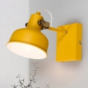 Macaron 1 Bulb Wall Light Fixture Pink/Yellow/Green Bowl Adjustable Wall Lamp Sconce with Iron Shade