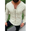 Vintage Leisure Mens Long Sleeve V-Neck Lace Up Cotton and Linen Fitted Plain T Shirt