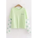 Unique Fashion Girls Panel Long Sleeve Round Neck Letter Print Smile Graphic Fake Two Piece Drawstring Hem Relaxed T-Shirt in Green