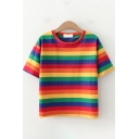 Fancy Popular Girls Short Sleeve Round Neck Stripe Printed Relaxed Fit T-Shirt
