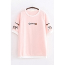 Womens Cute Fashion Short Sleeve Round Neck Letter Cat Graphic Contrast Piped Relaxed Fit Tee Top