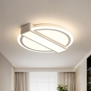 Modernist Circular Flushmount Acrylic Bedroom LED Flush Ceiling Light Fixture with Rectangle Design in White