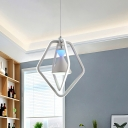 Acrylic Hourglass Suspended Lighting Fixture Modernist White LED Hanging Chandelier with Dual Pentagon Frame for Dining Room