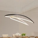Aluminum Oval Frame Chandelier Modernist Black and White LED Ceiling Pendant for Dining Room in Warm/White Light