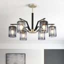 Post Modern Cylinder Chandelier Light Gradient Smoke Gray Glass 5/6 Bulbs Bedroom Suspension Lamp in Black and Gold