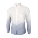 Casual Basic Mens Long Sleeve Spread Collar Button Up Ombre Chest Pocket Slim Fitted Shirt