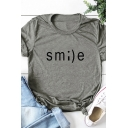 Popular Womens Roll Up Sleeve Crew Neck SMILE Letter Print Slim Fitted T-Shirt