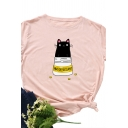 Cute Girls Roll Up Sleeve Round Neck Cartoon Cat Pattern Slim Fitted T-Shirt