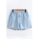 Fashion Girls Drawstring Waist Rabbit Letter Embroidered Contrasted Relaxed Fit Denim Shorts
