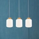 White Cylinder Multiple Hanging Light Modern 3 Heads Opal Glass Pendant Lamp with Wood Top, Round/Linear Canopy