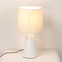 Simple 1 Bulb Night Light White/Black Finish Cylinder Night Table Lamp with Fabric Shade