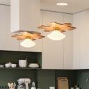 Mushroom Hanging Lighting Simple Cream Glass 1 Head Dining Room Pendant with Jigsaw Puzzle Wood Shelf