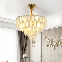 9 Heads Crystal Chandelier Light Fixture Modernist Gold 4-Layer Living Room Pendant Lamp