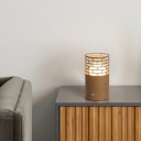 Modern 1 Head Table Lighting Brown Cylinder Night Lamp with Wood Shade for Living Room