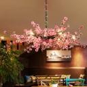Spread Restaurant Suspension Lighting Retro Iron 12 Bulbs Pink Flower Chandelier Pendant Light