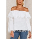 Chic Womens Long Sleeve Off the Shoulder Ruffled Trim Fringe Relaxed Fit Blouse in White