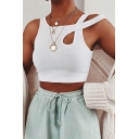 Ladies Chic Sleeveless Asymmetric Neck Hollow Out Slim Fit Crop White Tank Top